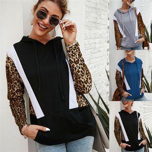 Women Leopard Patckwork Hoodies Fall Long Sleeve Slim Womens Sweatshirts Casual Ladies High Street Pullover Hoodies