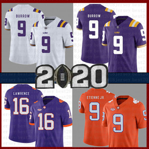 Hombre 9 Joe Burrow Jersey de fútbol americano NCAA LSU Tigers College Clemson Tigers 16 Trevor Lawrence 9 Travis Etienne Jr. University Jerseys