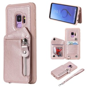 For Samsung Galaxy S9 Case Zipper Humanized Card Slot Design Cover Double buckle Stand shockproof Mobile Phone Cases