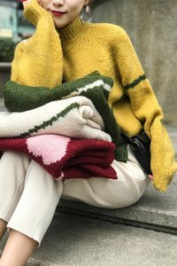 여성 스웨터 가을과 겨울 사랑 그린 라인 느슨한 후드 두꺼운로드 바늘 모양의 울 스웨터
