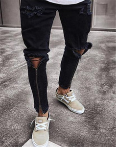 Delik Erkek Jeans Moda Skinny Fermuar Kasetli Mens Kalem Pantolon Gündelik Fermuar Fly Erkek Giyim