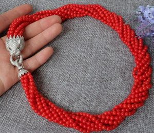 Mulheres boas xiuli 003526 8strds Red Coral colar Rodada fecho de zircão atacado whosale Genuine jóias de prata de Casamento