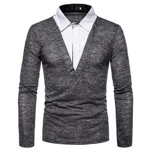 Lambrissé Mens Designer Fashion en vrac Polos faux deux pièces pour hommes T-shirts Casual hommes cou Vêtements Lapel
