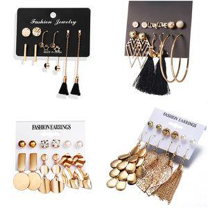 Luokey Exquisite Earings Fashion Jewelry For Women Gold Hollow Leaves Dangle Earring Black Long Tassel Drop Earrings Accessories