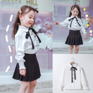 Autumn girls hipster pure color all-match top bow tie student long Top Butterfly shirt sleeve shirt
