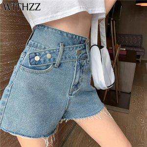 Jeans a vita alta Burr irregolare dislocazione di WITHZZ estate delle donne gamba larga Denim Shorts