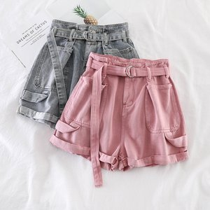Xuxi 2020 Mulheres Coréia Estilo Moda Shorts Streetwear Lazer Retro cor sólida bolso duplo Womens Skinny Calças quentes FZ0714