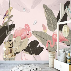 New Design Texture Wallpaper Modern Tropical Plant Leaves Pink Birds Mural Living Room Bedroom Restaurant Wall Paper For Wall 3D