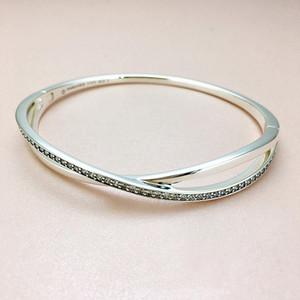 Fashion entangled bracelet for Pandora jewelry 925 sterling silver with CZ diamond trend wild temperament ladies bracelet with box