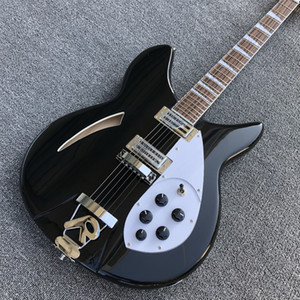 Custom Black 6 strings Ricken 360 model Electric Guitar 2019 New arrival hollow body Rick Jazz Guitar Free shipping