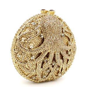 Dgrain Dazzling Gold Octopus Kristall Clutch Abend Geldbörse Tasche Frauen Meer Animal Abendessen Handtasche Hochzeit Braut Geldbörse Minaudiere Bo DSSJ