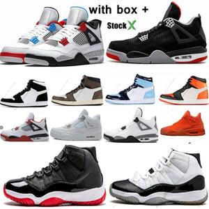 Air Jordan retro Black Cat 4 4s ciment blanc Ce que les 1 1s Travis Scotts gris Hommes Chaussures de basket-Bred 11 11s Concord Hommes Sports Chaussures Designer