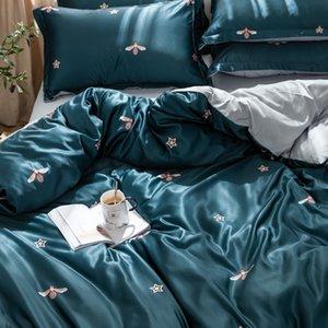 Red Net Cama Verão Folha de cama capa do edredon Lavados Silk quatro peças Set Ice Silk Europeia-Style Silky Tencel verão esfria capa de edredão
