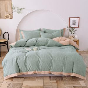 2020 Summer bedding set AB side duvet cover pillowcase bed linen fitted sheet modern solid 100%washed cotton bedding twin queen