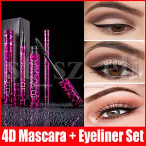 Eye Makeup Set 2 em 1 Mascara delineador 4D GROSSO 36H delineador líquido de longa duração tipo impermeável Alongamento Presente de Natal Cruling CURL