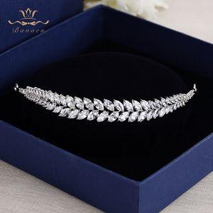 Tiaras Hairbands Cristal Noivas Cabelo Acessórios de cabelo Evening ewelry Acessórios Bavoen Folhas elegantes Limpar Zircon Wedding Jóias Bir ...