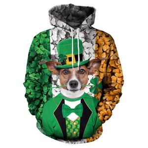 패션 성 패트릭의 날 Knits Leprechaun 애인 의류 커플 미스터 개 동물 프린트 후드 캐주얼 아일랜드 휴일 티셔츠