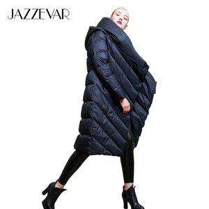 JAZZEVAR 2019 Kış yeni Tasarımcı Marka kadınlar uzun gündelik kadın solucan yorgan aşağı ceket giyim z18003 ceket aşağı kapüşonlu