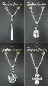 Kadınlar Takı Punk Dostluk Hediyesi için Vintage Gümüş Beyzbol Eldiven Top Bat veya Cap kolye Tasarımcı Tablosu Zincir kolye kolye