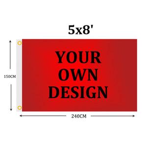 Individuelle 5x8 FT Flag Banner 150x240 cm Sports Party Club Geschenk Digital gedruckte Polyester Werbung Indoor Outdoor Fahnen und Banner