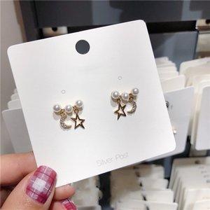 MENGJIQIAO 2019 Women Gioielli di moda coreana nuova del strass Luna Stella Orecchini Per simulato gli orecchini della perla ragazza regali
