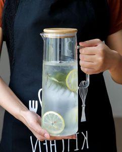 Tasse de théière pichet carafe en verre borosilicate eau chaude / froide avec couvercle en bambou couvercle pour le thé fait maison JuiceCold bouteilles de lait en verre, 1500 ml