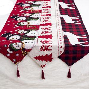 Bandeira de Natal Tabela decorativa Table Runner tecido de poliéster Natal Elk Snowman Tabela Runner para Holiday frete grátis