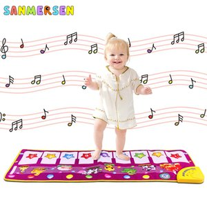 Música Juego Piano Mats táctil Tipo de desarrollo electrónico del juego del bebé de arrastre sonidos de animales Canta alfombra de la estera Juguetes para Niños