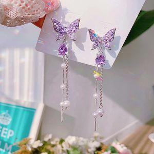 MENGJIQIAO 2020 Fashion Korean Glänzender Schmetterling Rhinestone-Tropfen-Ohrringe für Frauen-elegante Perlen-Troddel Pendientes Partei Schmuck