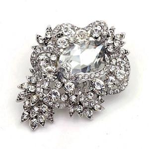 "Broche de cristal de cristal brillante de cristal brillante brillante de diamantes de imitación de 3.2 ""con baño de plata"