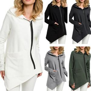 가을 여성 자켓 긴 소매 후드 코트 운동복 불규칙한 지퍼 재킷 소프트 윈드 포켓 따뜻한 코트 긴 소매 후드 S-3XL