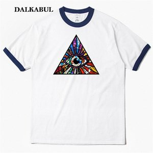 Olho de vidro manchado Illuminati T shirt Hip Hop Triangle Eye T-shirt Ocasional 100% Streetwear de Algodão Tops Tees Streetwear Tshirts