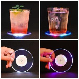 LED Light Up Coaster Pad Mat Sous-verres Coupes acrylique pour boissons Bar Bière Boisson Bar mariage Décoration Party ZZA1931 10pcs
