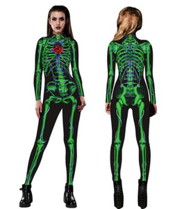 2019 new women's costumes 3d skeleton digital print jumpsuit ladies fashion personality funny tights jumpsuit performance costumes