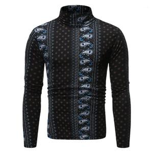 Slim Panelled Print Mock Neck Males Clothing 3D Digital Print Mens Designer Long Sleeve Tshirts Fashion