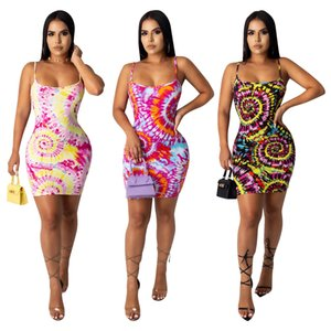 2020 Hot Women designer women's dress fashion sexy color circle print stripe suspender dress DHL L1918