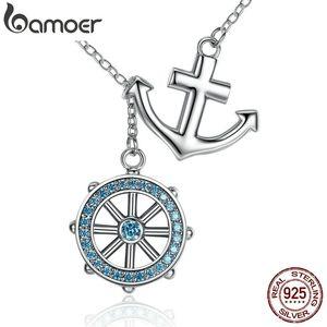 Bamoer Nuova Collezione 925 Sterling Silver Blue Anchor Timone Pendenti Collane Gioielli da sposa 45 cm Scn049 J190711
