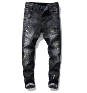 2019 new arrival!European and American brand black stitching Slim foreign trade paint hole patch small straight leg men's jeans