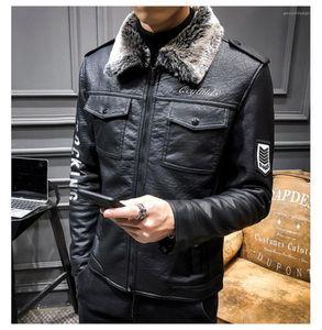 Diseñador cuello de la chaqueta de la PU de cuero grueso del otoño ropa de invierno Carta bordado Chaqueta de motorista para hombre de la piel de imitación
