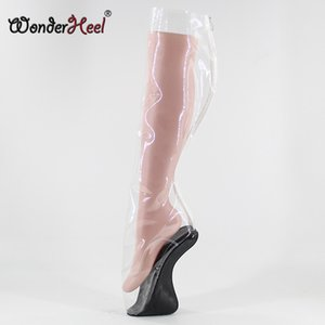 Wonderheel Neue Ultra-High Ferse 18cm gekrümmten Fersenkeile BALLET Stiefel sexy Fetisch klar PVC hohe Ballettstiefel Reißverschluss hinten
