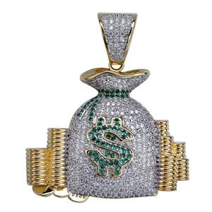 Cadeia Hip Hop New Style saco do dinheiro colar de pingente para fora congelado Micro Pave CZ Stone Gold Silver encanto chapeado para mulheres dos homens