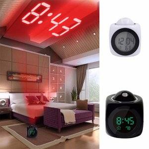 LCD Projection LED Display Time Digital Alarm Clock Talking Voice Prompt Thermometer Prevent Snooze Functional Desk Alarm Clock DH1113 T03