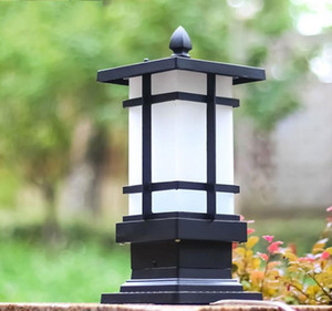 Matte Black Outdoor Pathway Pillar Lights, LED Lawn Lamp, Waterproof Landscape Walkway E27 Bulb Patio Garden Yard Post Lamp LLFA