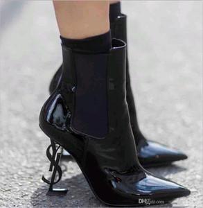2020 ربيع خريف الخريف الأسود أحذية الزفاف الجلدية لبراءات الاختراع للعروس أصابع القدم المدببة 10 سنتيمترات