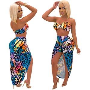 casual Beach Mini Dress women Corset STRAPLESS short top Irregular skirt sexy two pieces set beach Women Clothing