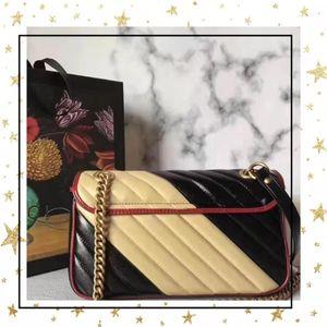 Ücretsiz nakliye Marmont çanta Lüks Çantalar kaliteli Tasarımcı çanta Orijinal yumuşak Gerçek Deri kadın Omuz Çantaları