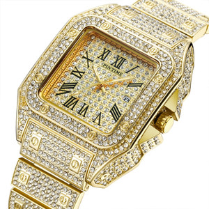 Wholesale High Quality Men Fashion Watch Shinning Diamond Watch Full Iced Out Watches Stainless Steel Quartz Movement Party Sport Wristwatch
