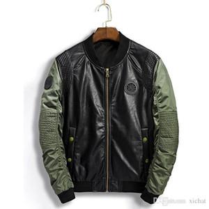 2018 rivestimento di autunno baseball pu cappotto del rivestimento di modo del punto di pelle nuova giacca di progettazione uomo giacca sportiva degli uomini outwear formato M-3XL DSWSL109
