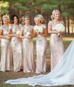 저렴한 Sequins Bridesmaid Dresses 2019 새로운 반바지 Bateau Neckline Shining 샴페인 하녀 의상 하녀 vestidos de novia