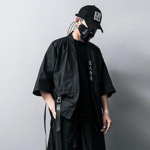 Embroidery Chinese Character Chinese style Mens jackets And Coats Summer Thin Japanese Harajuku kimono Male Hip-Hop Ribbon Coat B500607